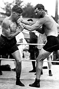 young stribling sparring with jack dempsey ca. 1930