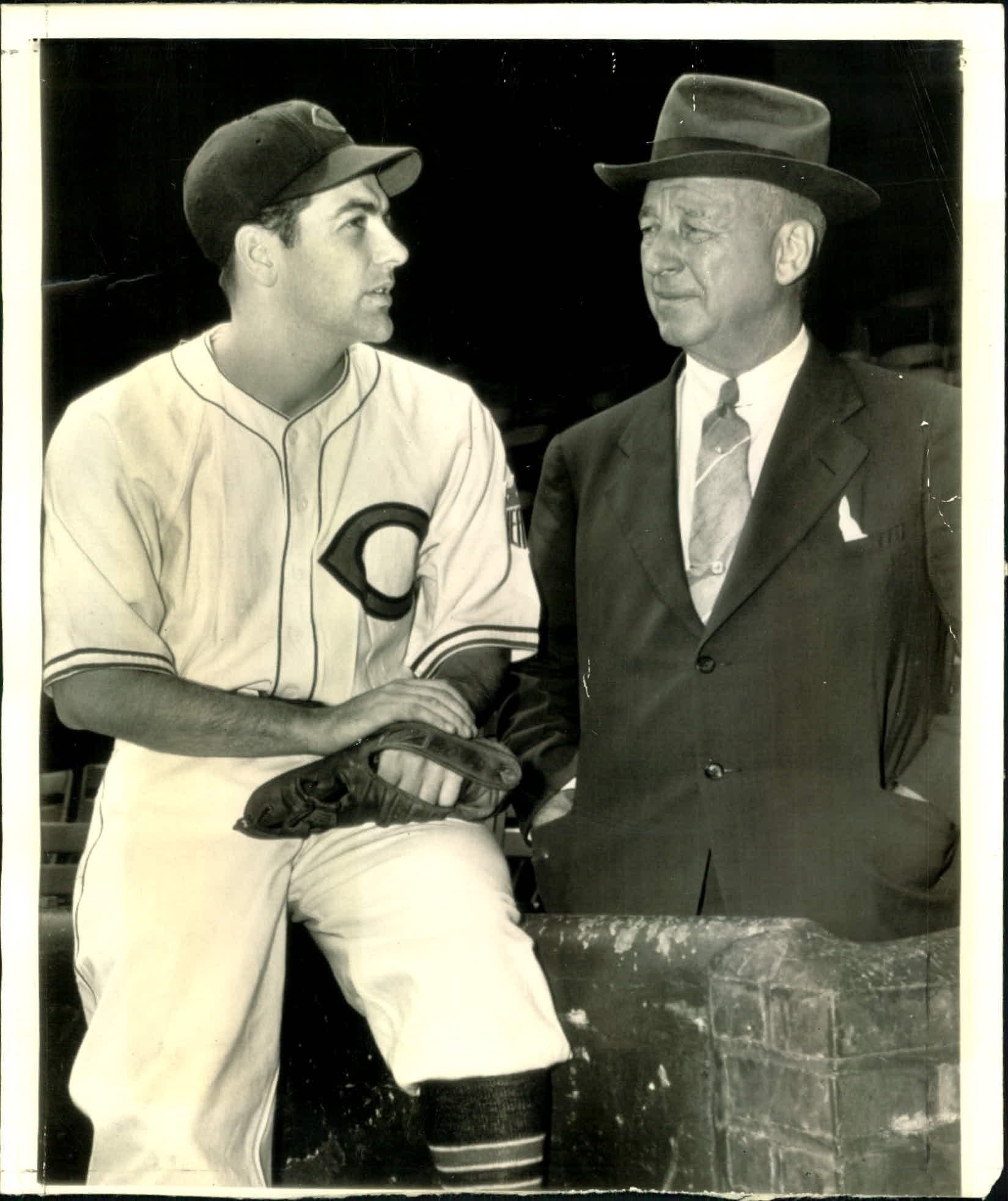 lou boudreau sitting with bradley